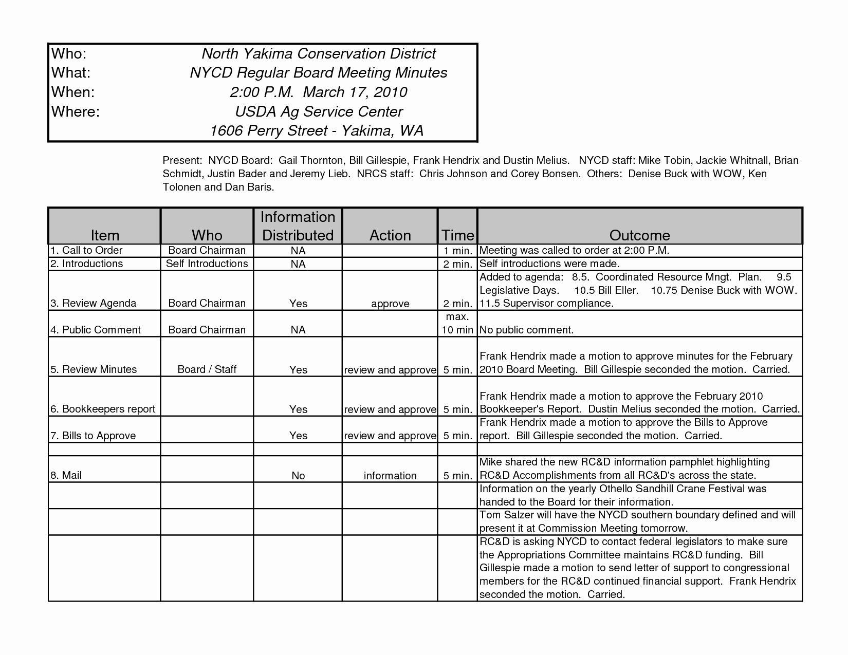 Excel Spreadsheet Agenda Template