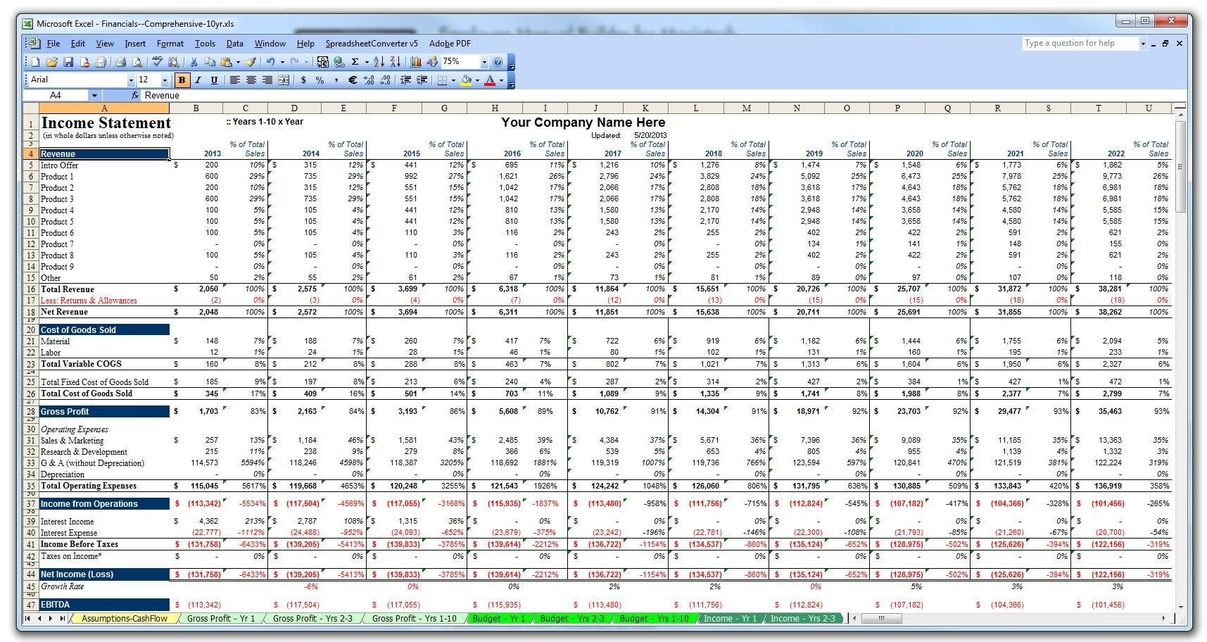 Excel Spreadsheet Business Plan Template