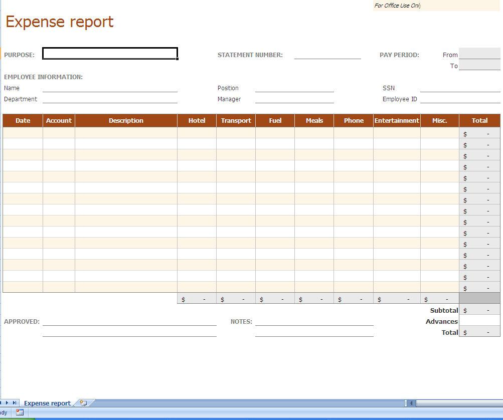 Excel Spreadsheet Expense Report Template