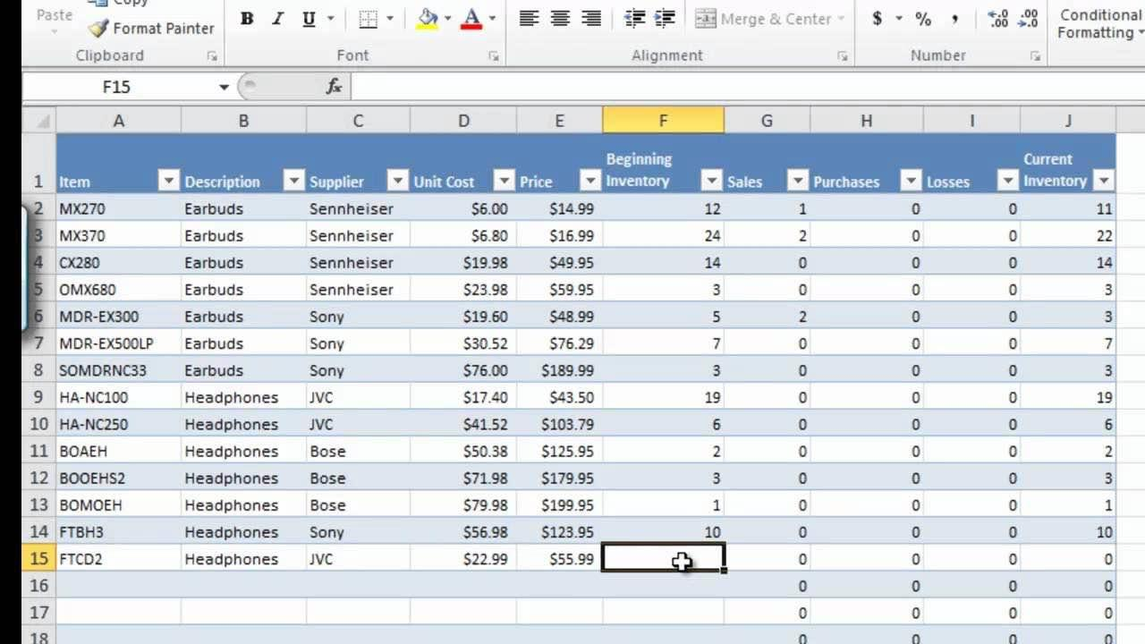 Excel Spreadsheet Inventory Template
