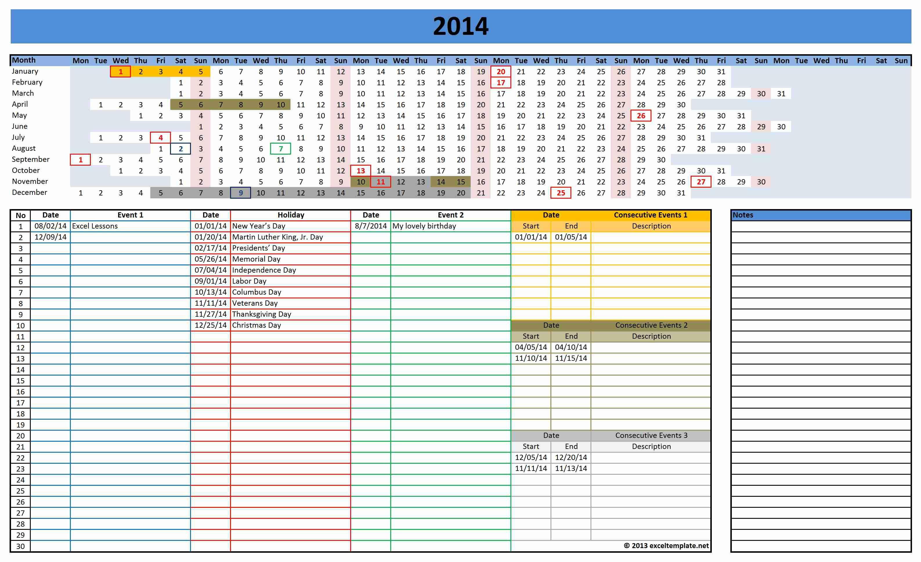 Excel Spreadsheet Planner Template