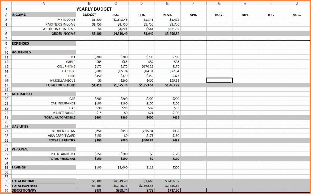 Excel Spreadsheet Template For Monthly Budget