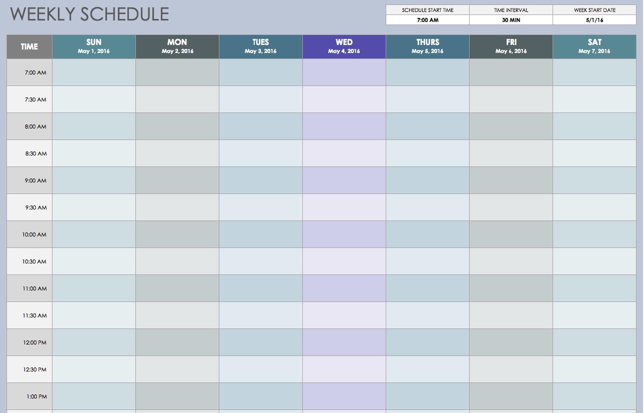 Excel Spreadsheet Template Weekly Schedule