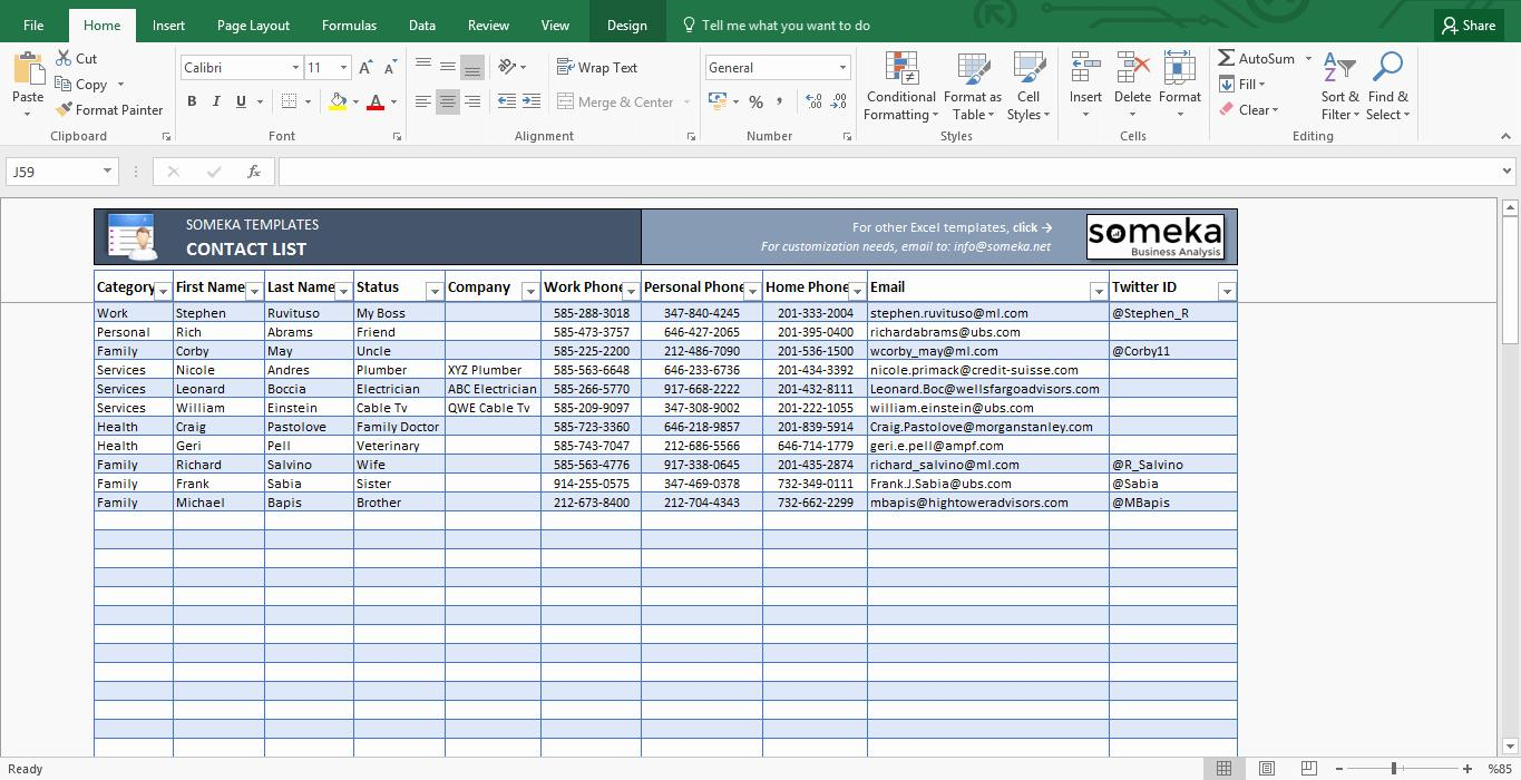 Excel Spreadsheet Templates For Contact List