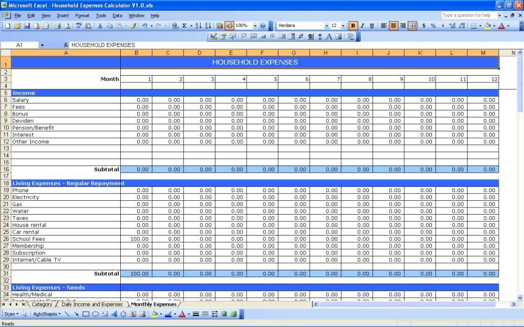 Excel Spreadsheet Templates For Household Expenses