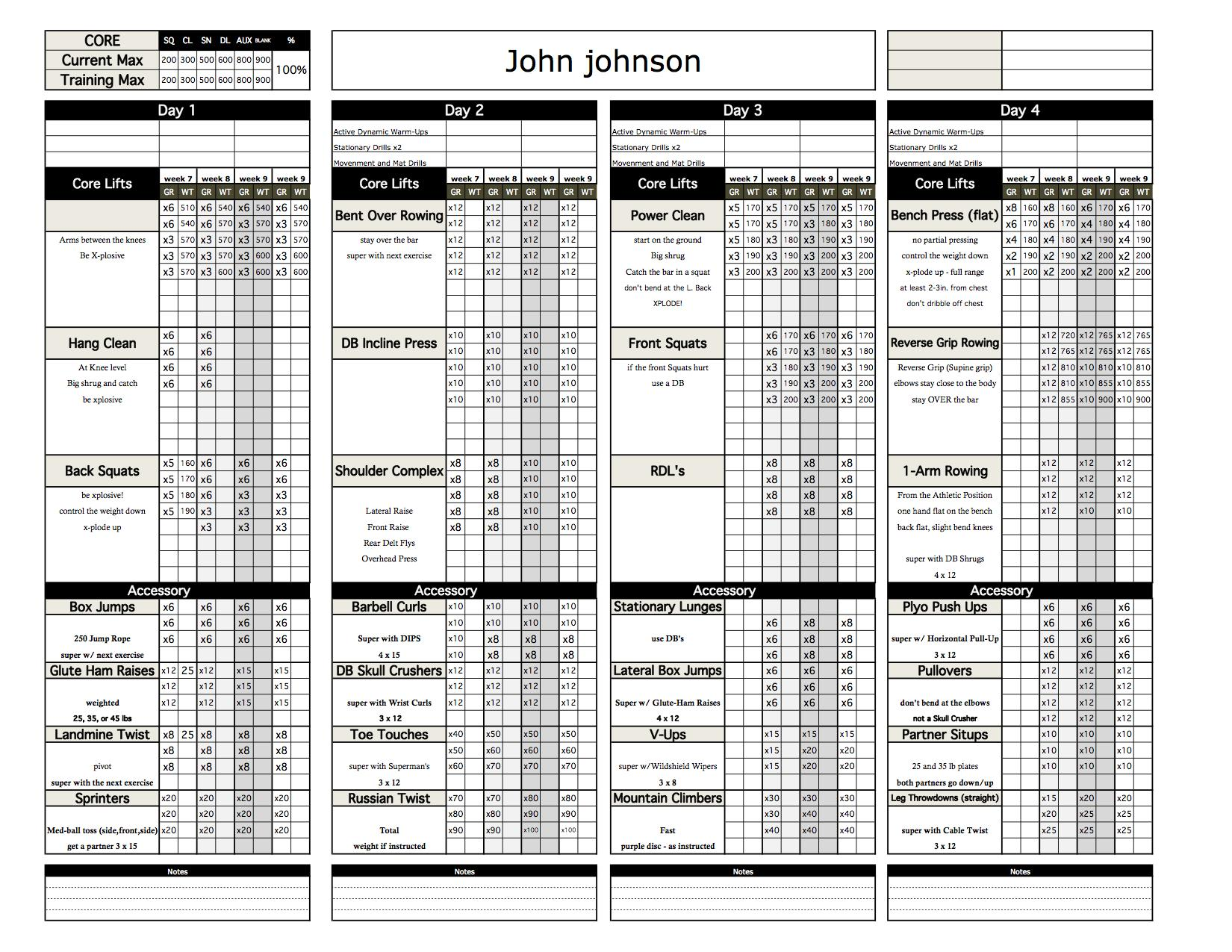 Excel Strength Training Templates