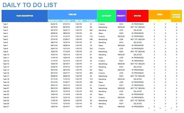 Excel Task List Spreadsheet Template