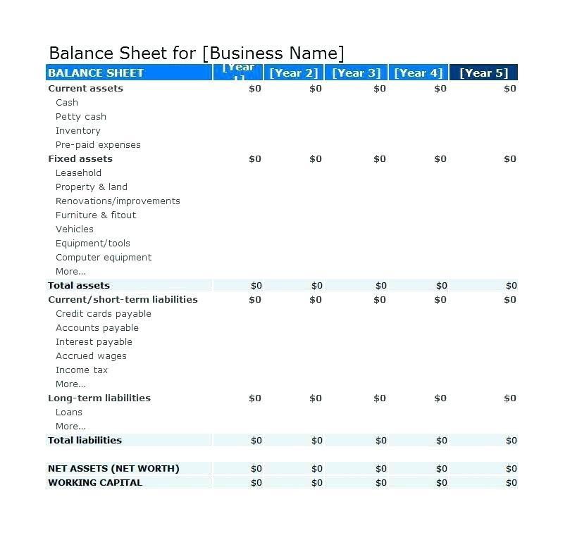 Excel Template Balance Sheet Income Statement Cash Flow