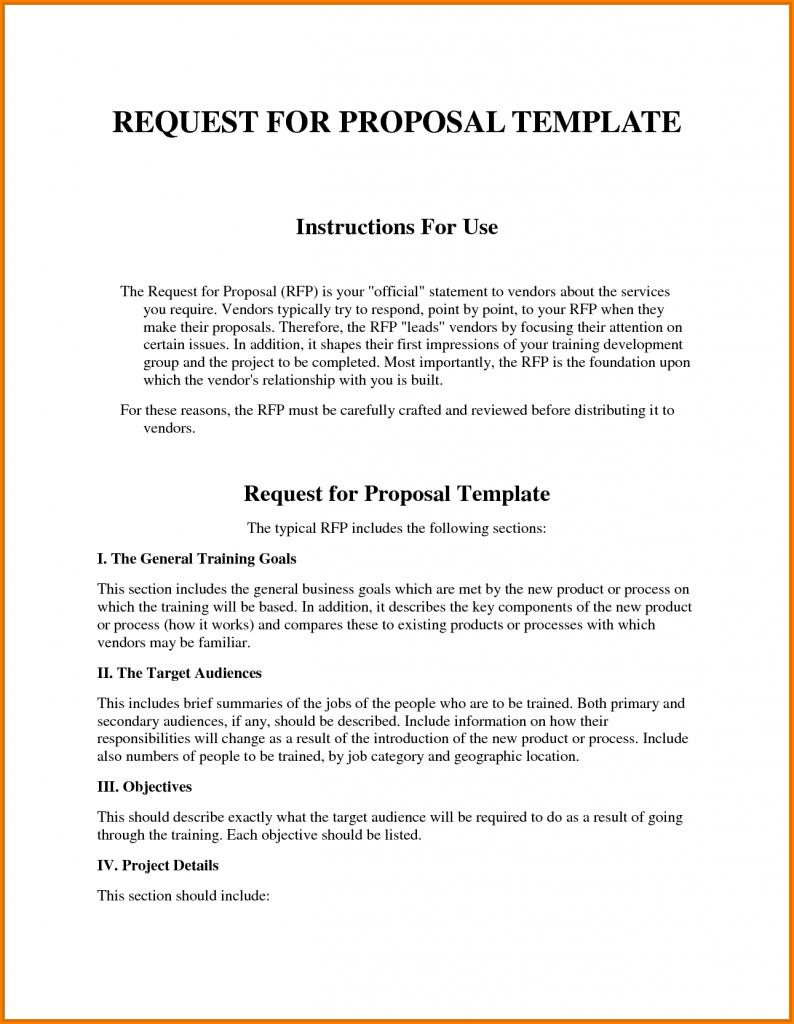Excel Template For Rfp