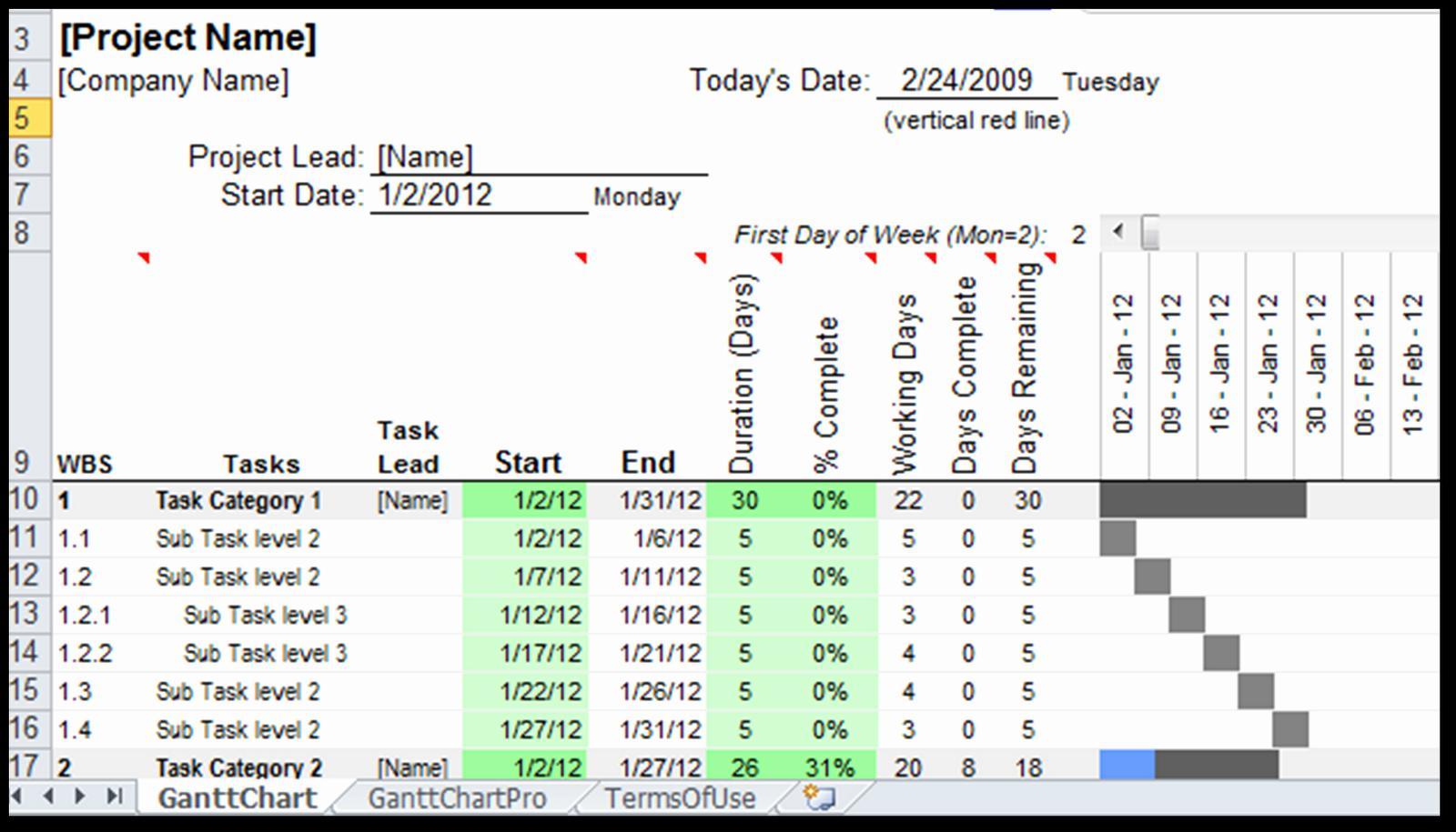 Excel Template Gantt Chart 2013