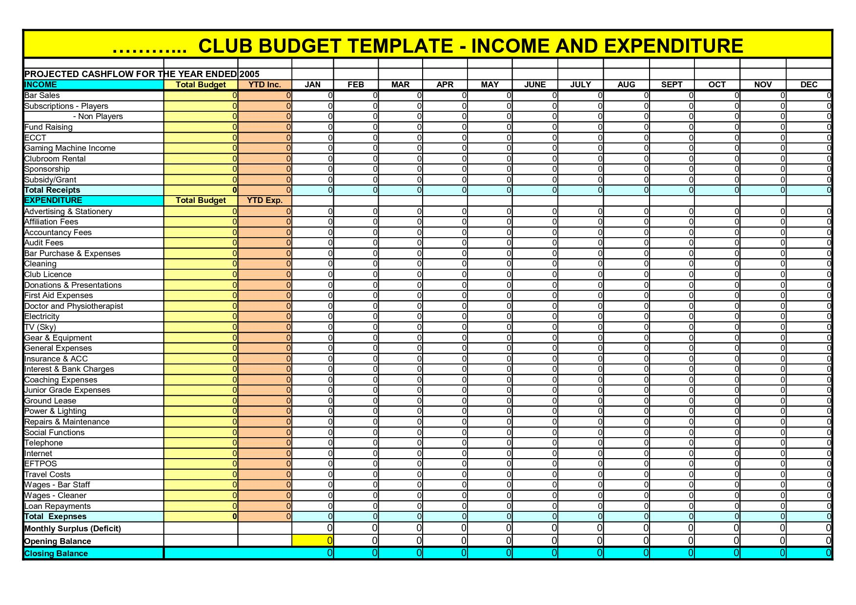 Excel Template Income Expense Report