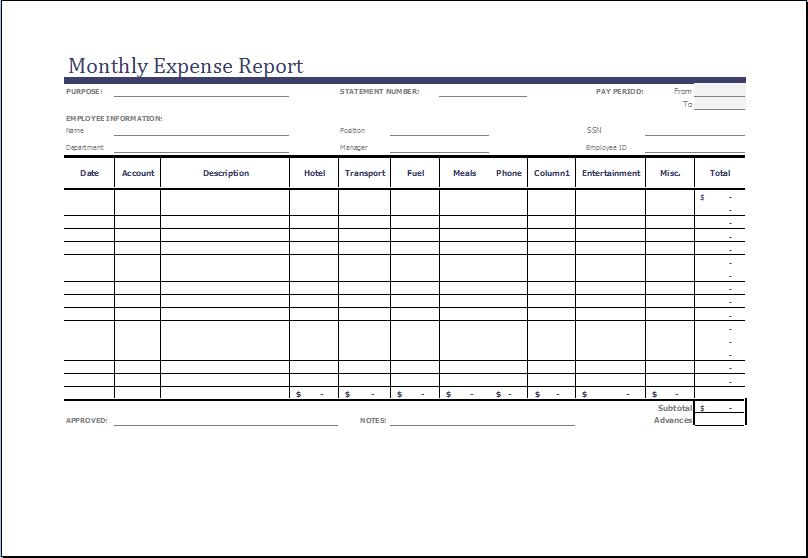 Excel Template Monthly Expense Report
