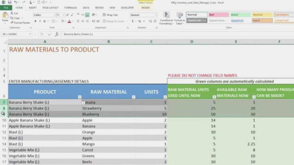 Excel Templates For Inventory And Sales