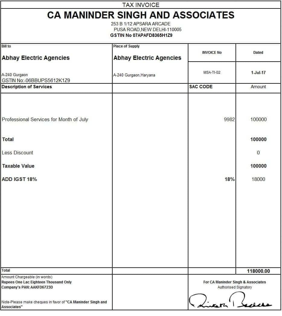 Excel Templates For Invoice Gst