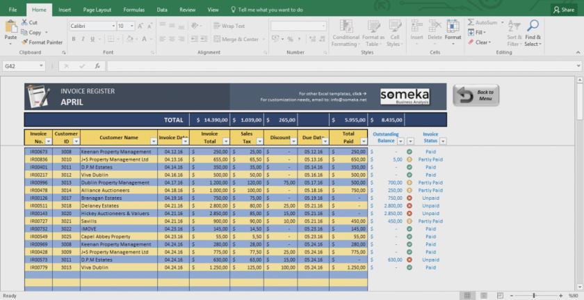 Excel Templates Invoice Tracker