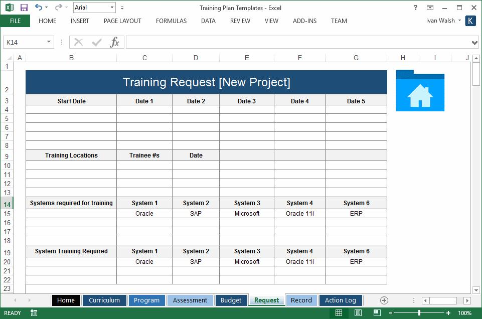 Excel Templates Training Plan