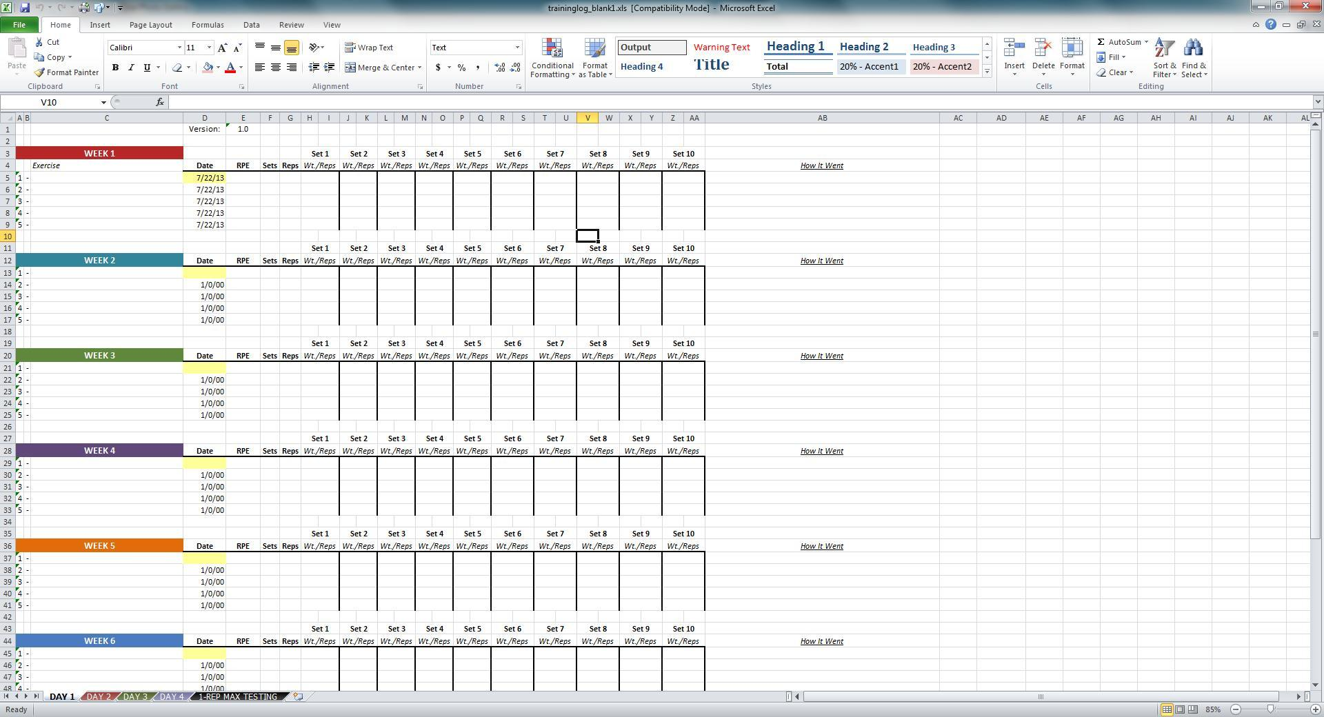 Excel Training Template Spreadsheet