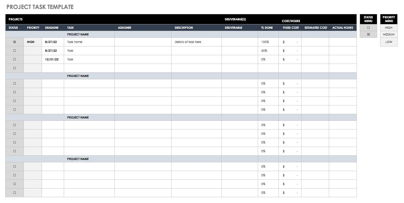 Excel Work Plan Template
