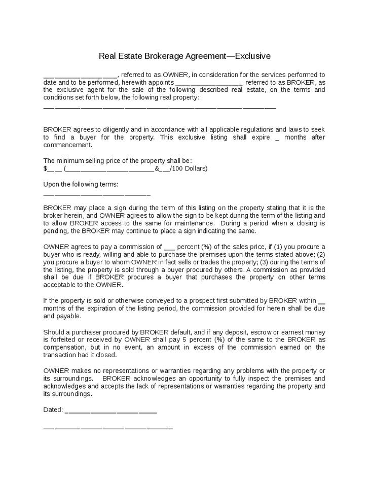 Exclusive Brokerage Agreement Template
