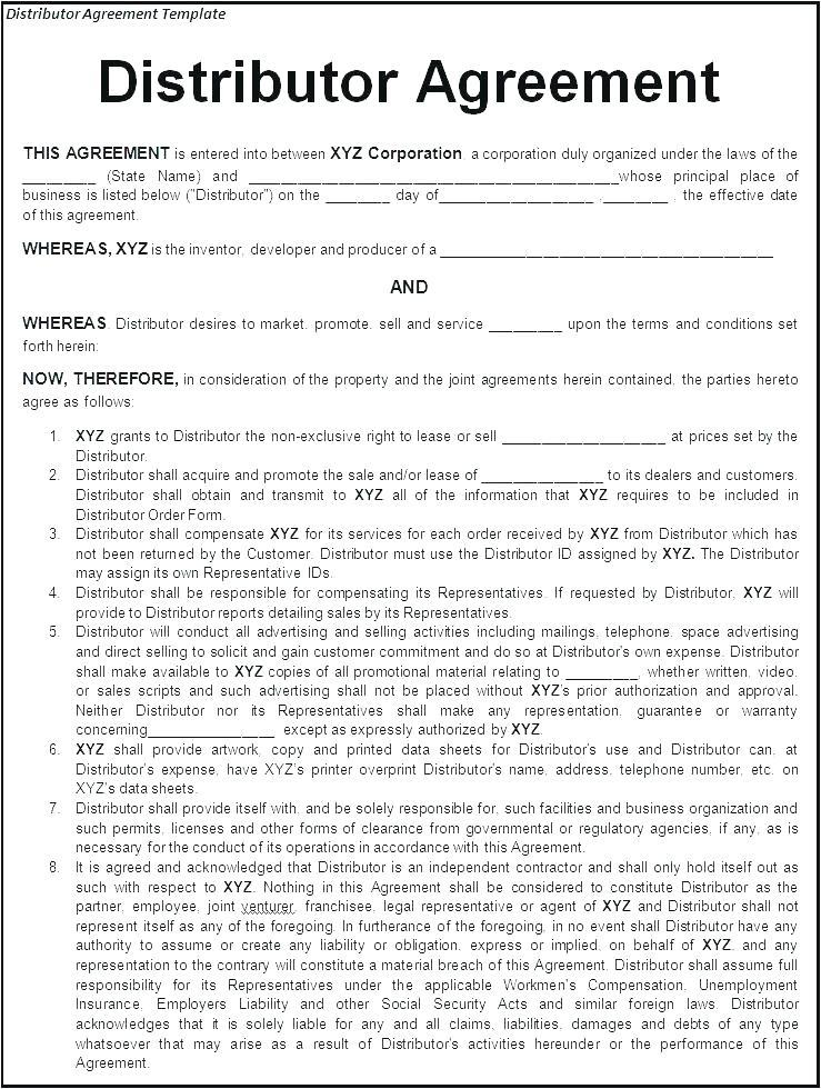 Exclusive Distribution Agreement Template Free