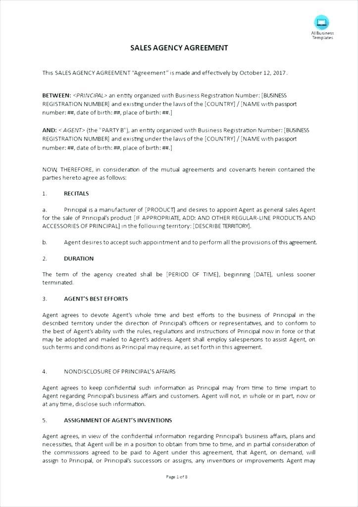 Exclusive Sales Agent Agreement Template