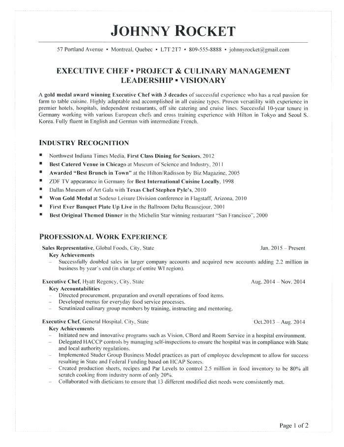 Executive Chef Resume Templates