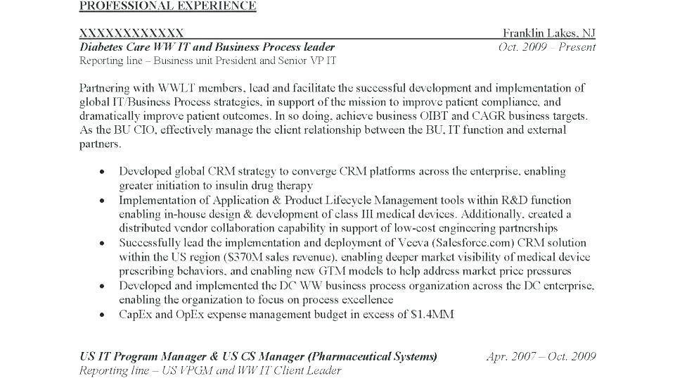 Executive Resume Formats Templates
