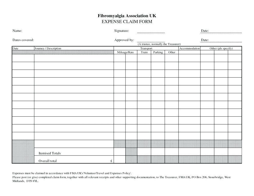 Expense Reimbursement Form Template Word