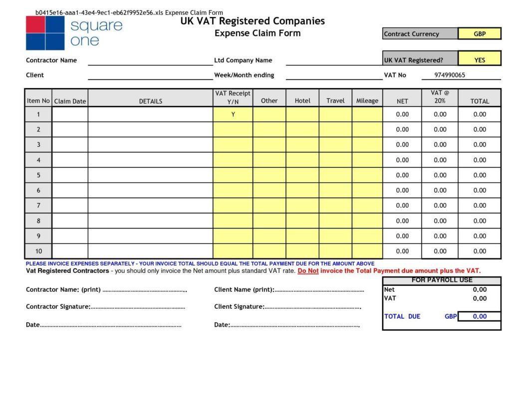 Expense Reimbursement Template Excel