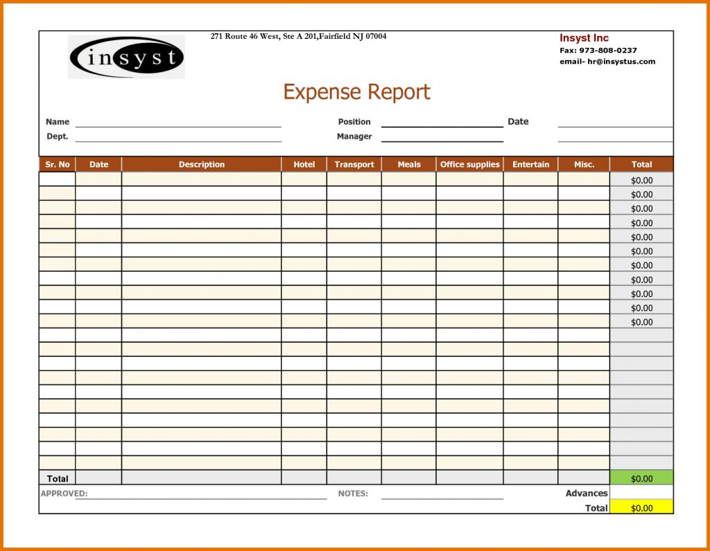 Expense Report Templates For Openoffice