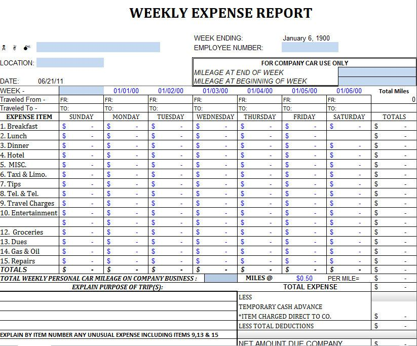 Expense Spreadsheet Template Free