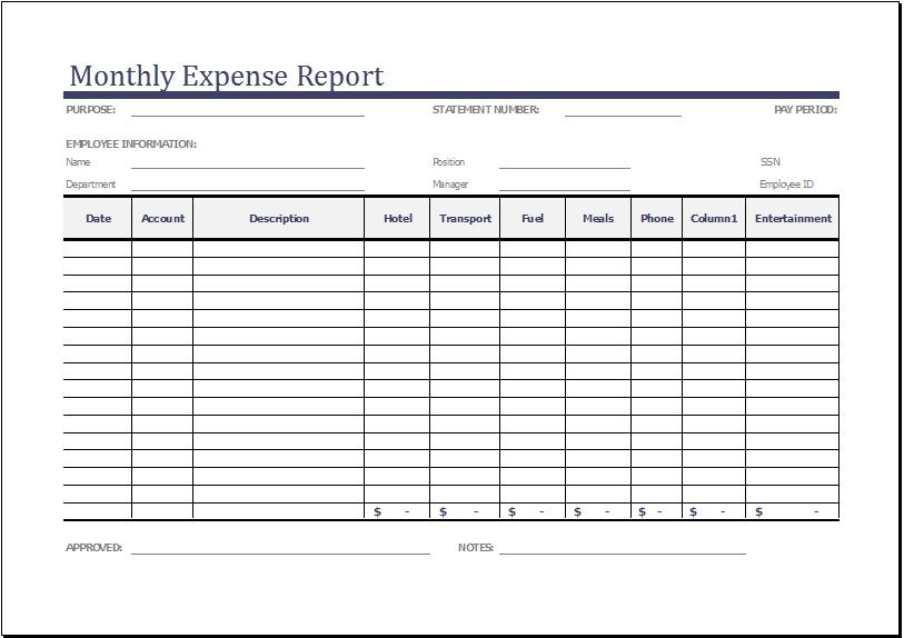 Expense Template For Small Business Free