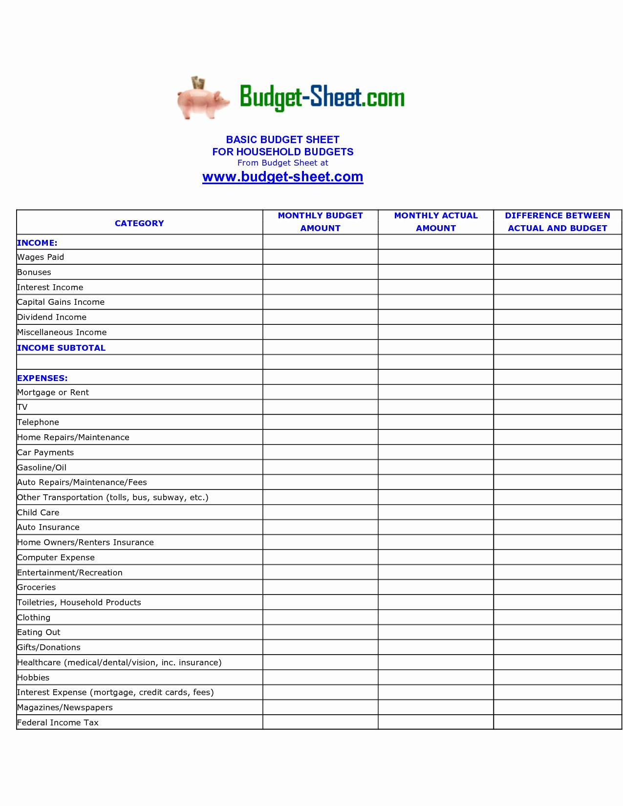 Expenses And Income Sheet Template