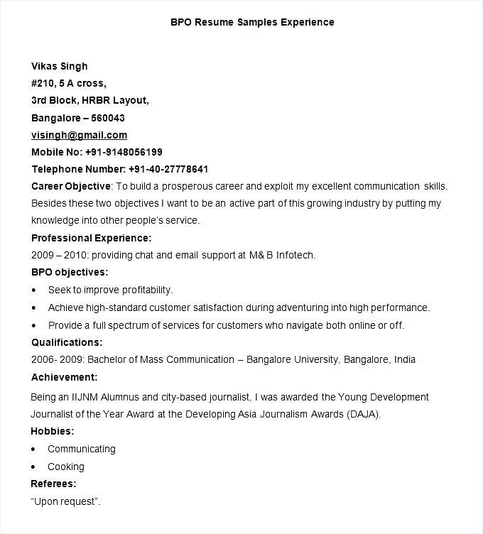 Experience Resume Format Doc Free Download