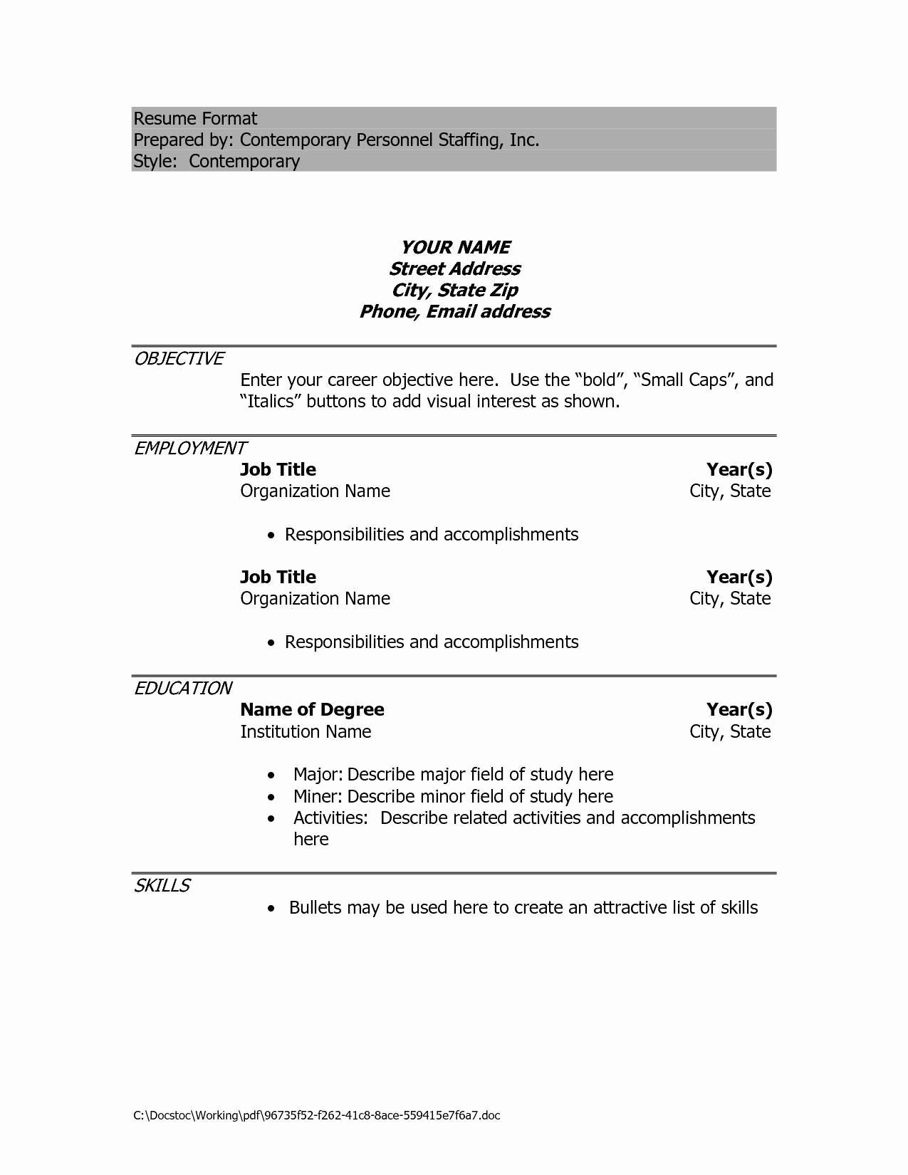 Experience Resume Format Free Download Doc