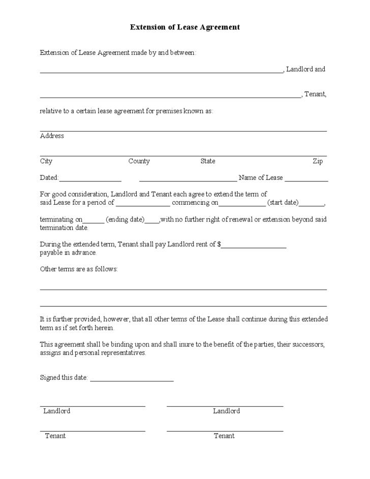 Extend Lease Agreement Sample