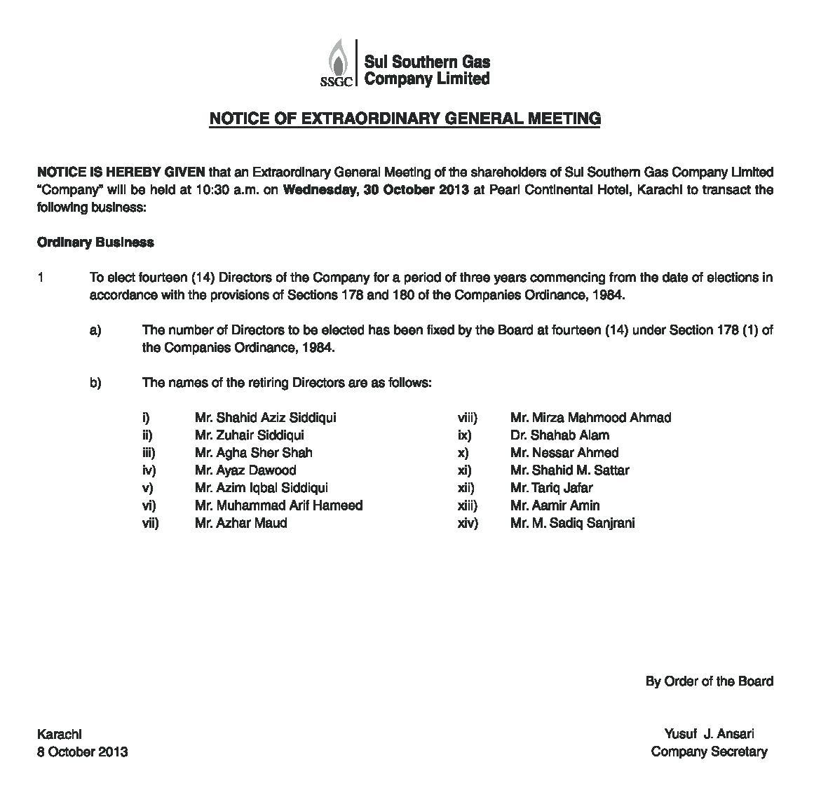 Extraordinary General Meeting Minutes Template
