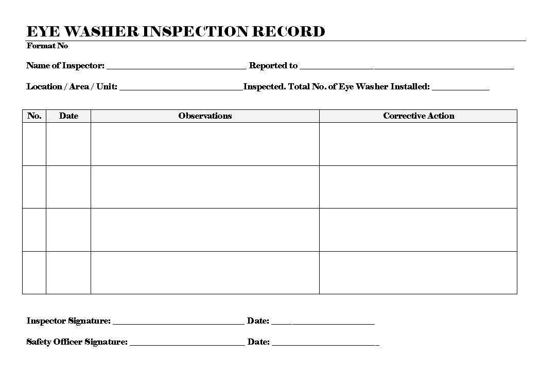 Eyewash Inspection Tag Template