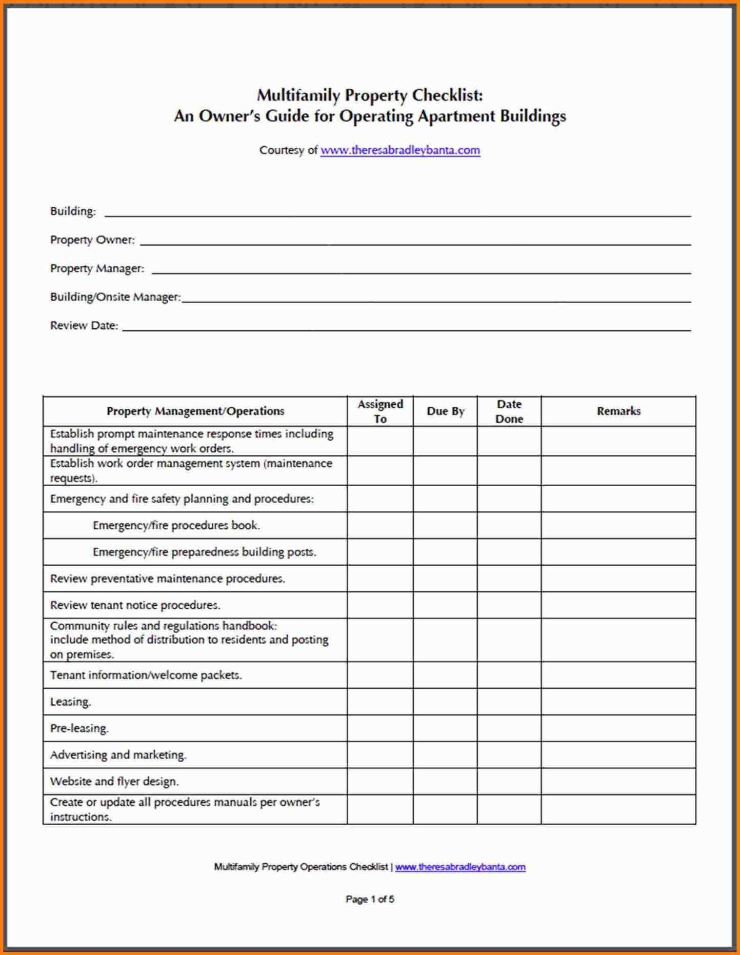 Facility Maintenance Plan Template Excel