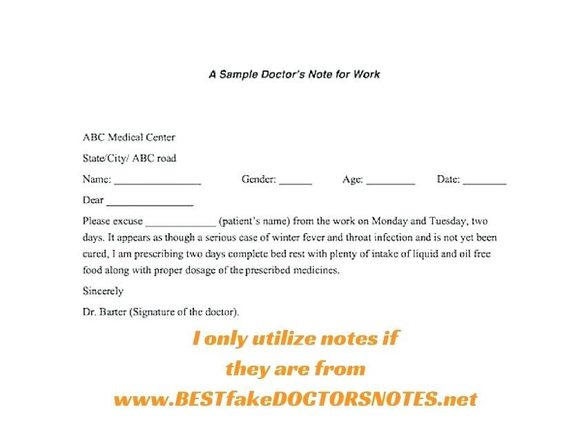 Fake Doctors Note For Work Example