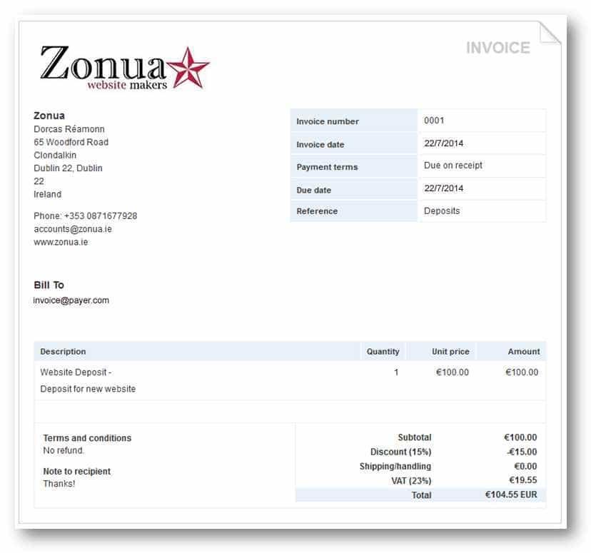 Fake Invoice Example