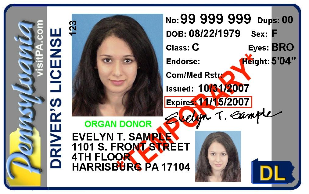 Fake Pa Drivers License Template