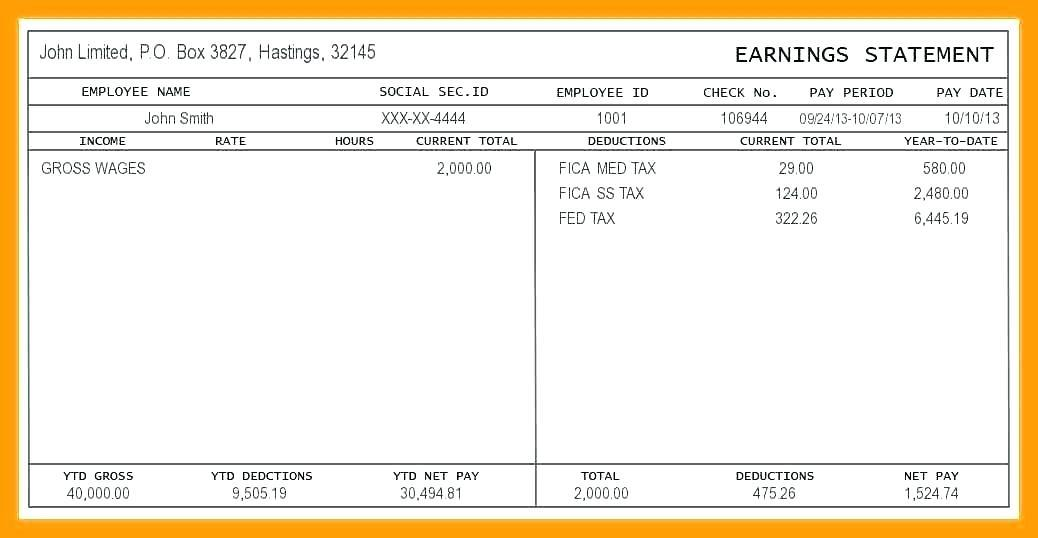 Fake Paycheck Stub Template