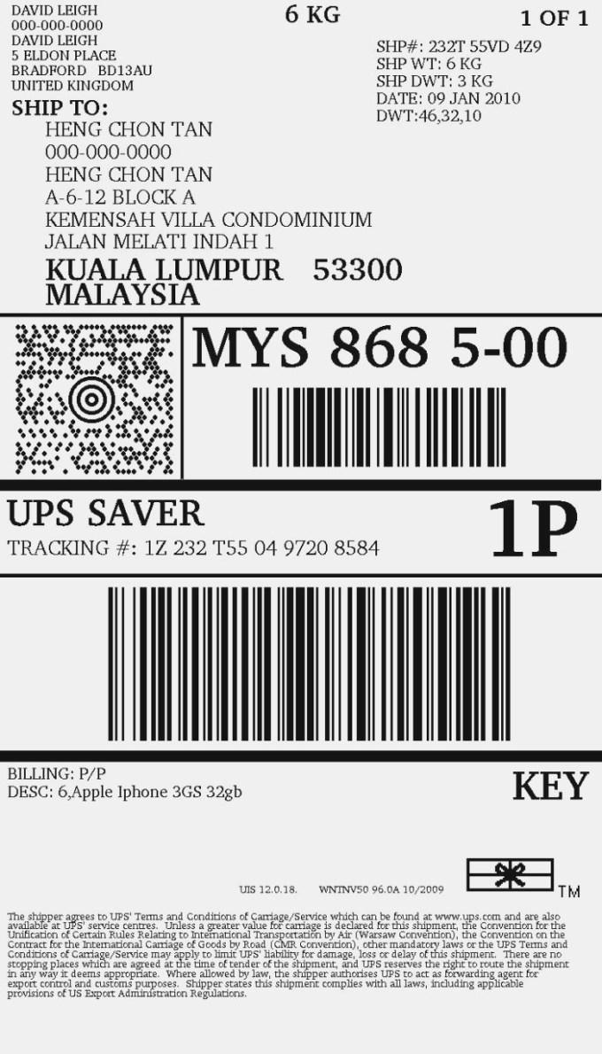 Fake Ups Shipping Label Template