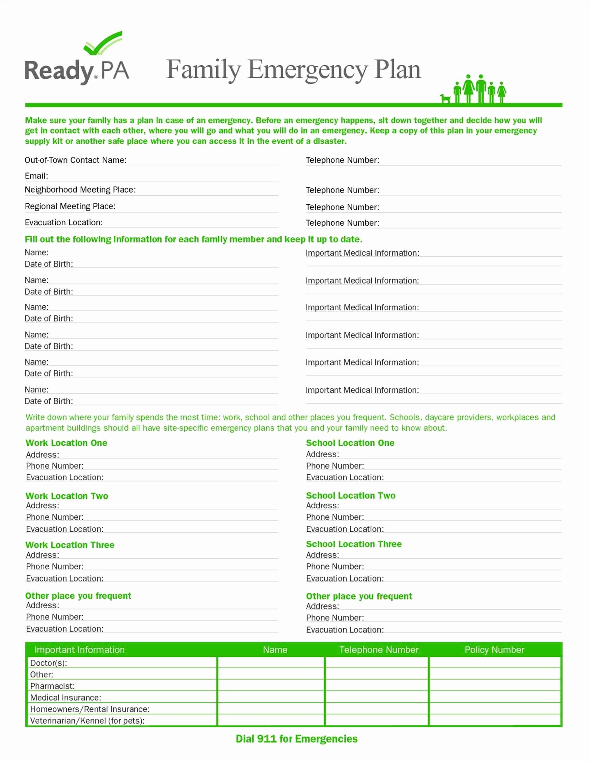 Family Emergency Disaster Plan Template