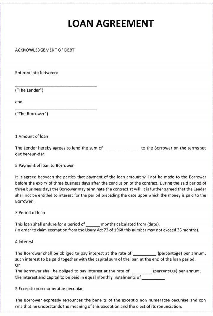 Family Loan Agreement Template Free Uk