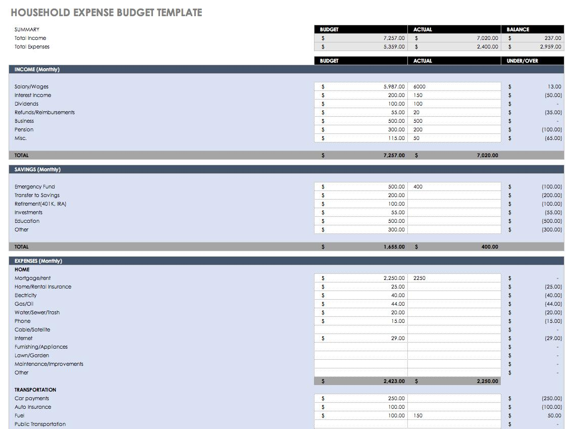 Family Monthly Budget Templates