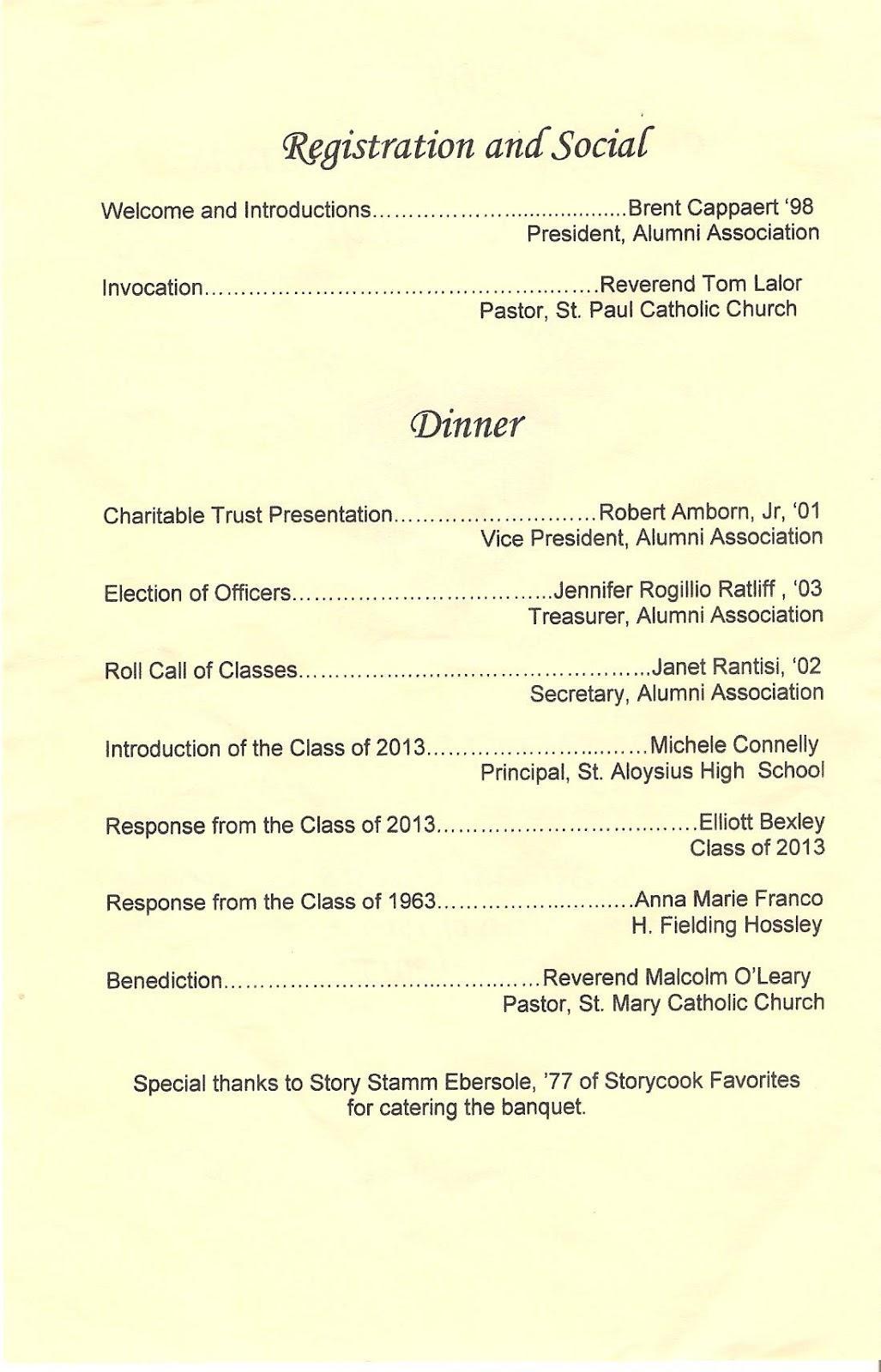 Family Reunion Banquet Program Template