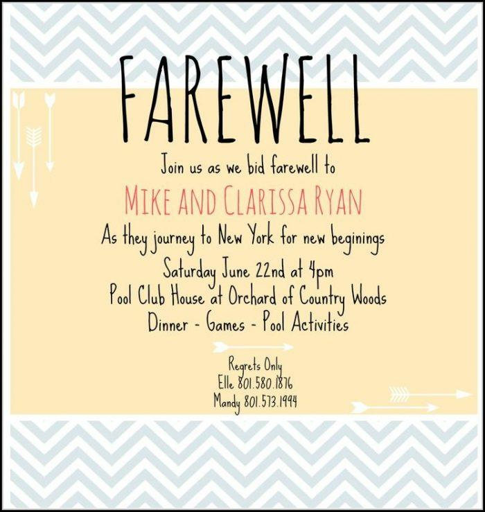 Farewell Invitation Template Word Free