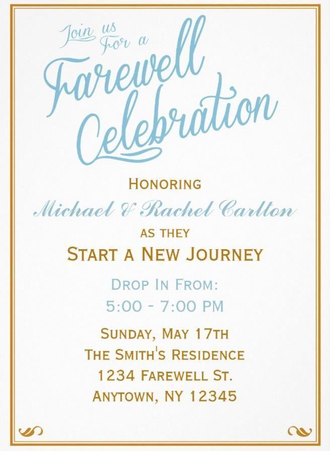 Farewell Invite Samples